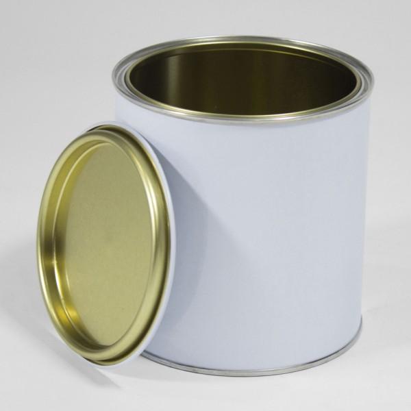 1L White Lever Lid Tin