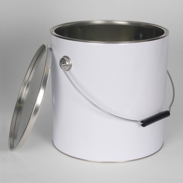 10L White Lever Lid Tin