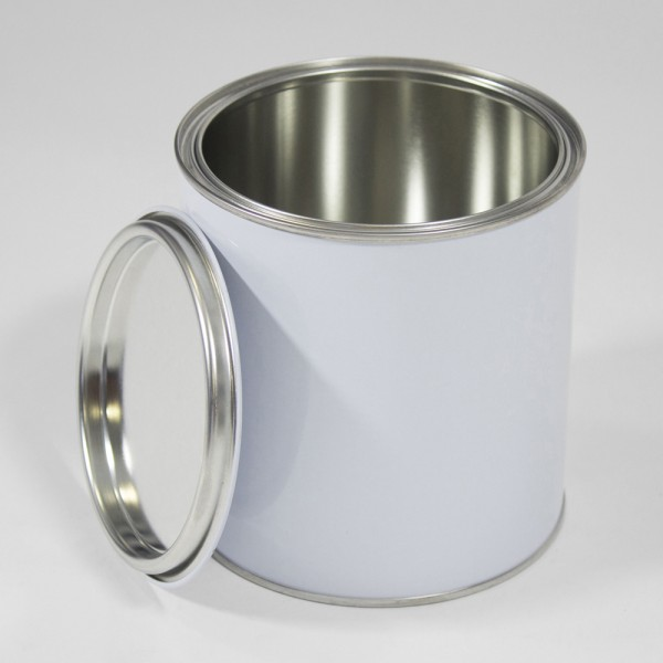 1L White Lever Lid Tin W/Plain Interior