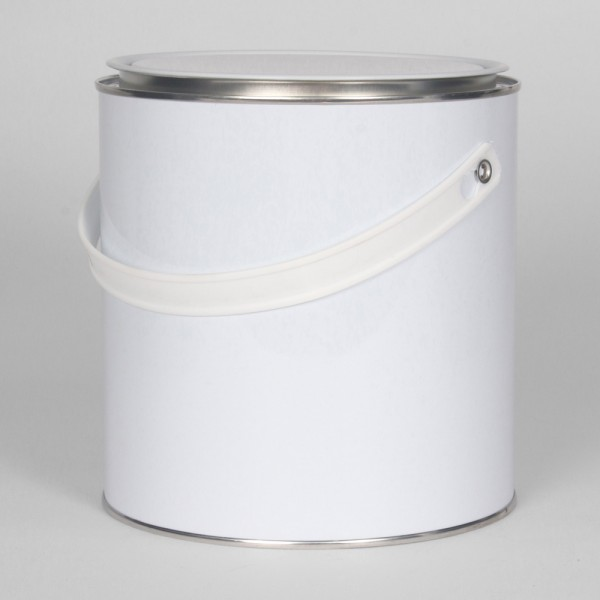 2.5L White Lever Lid Tin W/Plain Interior