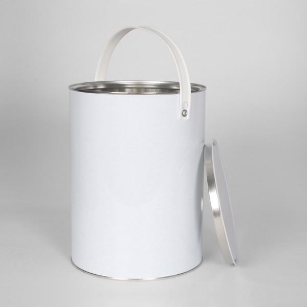 5L White Lever Lid Tin W/Plain Interior