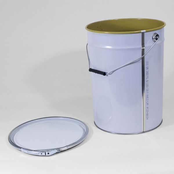25L White Pail W/Lacquered Interior