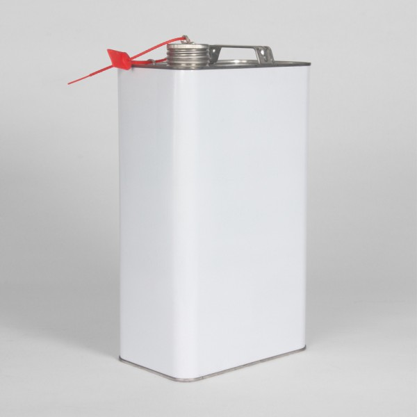 5L White Oblong Can W/Lug & Ear