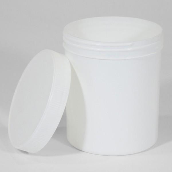 1L White Polyjar W/ Screw Cap