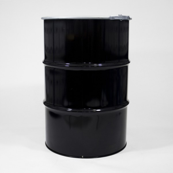 205L Black Open Top Drum